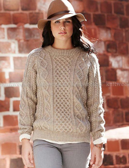 Мобильный LiveInternet Женский свитер спицами с аранами | Fleure_de_Paris - Дневник Мармеладка |