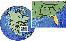 Miami, Florida, Estados Unidos localización zona horaria mapa fronteras