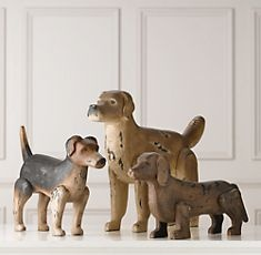 antique wooden dogs