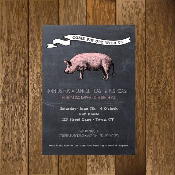 Chalkboard Pig Roast Party Invitation by PaperGoodiesbyKim on Etsy