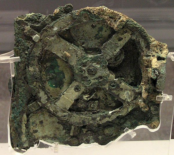 The Antikythera mechanism, found in a shipwreck on the Point Glyphadia of the Greek island Antikythera in 1900, is an ancient analog computer designed to calculate astronomical positions. Although the exact civilization responsible for its creation is unknown, it is from a greek speaking people's origin dating back to 100 BC