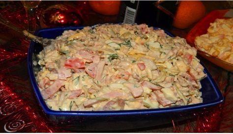 Najlepší slávnostný šalát z kuracieho mäsa, šunky, syra a zeleniny! V kuchyni sa po ňom len tak zapráši!