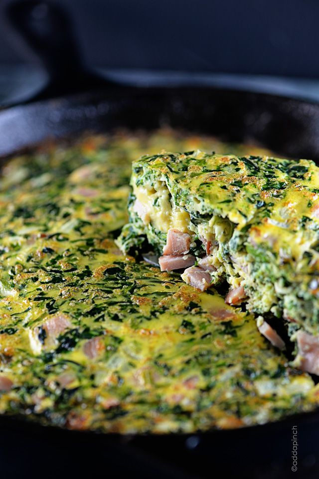 Ham Frittata Recipe8 eggs ½ cup whole milk 2 cups diced ham 1 (10-ounce) package frozen spinach, thawed and drained ½ medium onion, diced 1 cup grated cheddar cheese ½ teaspoon salt ¼ teaspoon dry mustard pinch cayenne pepper 1 tablespoon butter