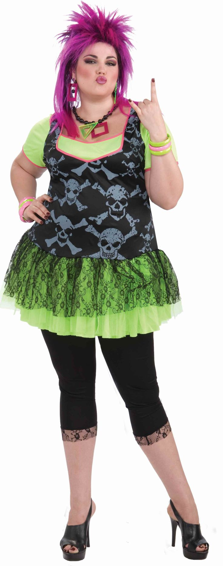 80s Punk Lady Plus Size Halloween Costume - Calgary, Alberta. Get ready to rock in this 80s to the max punk Halloween costume. This costume is a one piece dress with bright neon crinoline and undershirt lined in neon pink. The bodice is a flattering black print with grey skulls and the crinoline has a black lace over it. There are black leggings included with lace cuffs. Add your own accessories for the next 80s Rock Band party and Halloween.