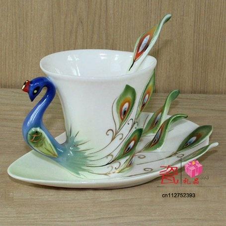 Enamel porcelain dazzle gold peacock coffee mug cup