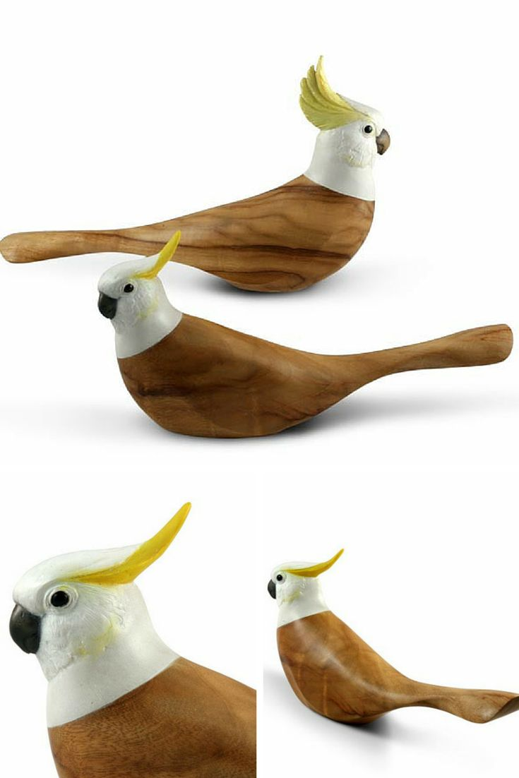 This hand carved representation shows the Sulphur Crested Cockatoo in its comb down pose, exhibiting a more restful state . The body of the bird is crafted from sustainable Camphor Laurel and the head from resin and hand painted.