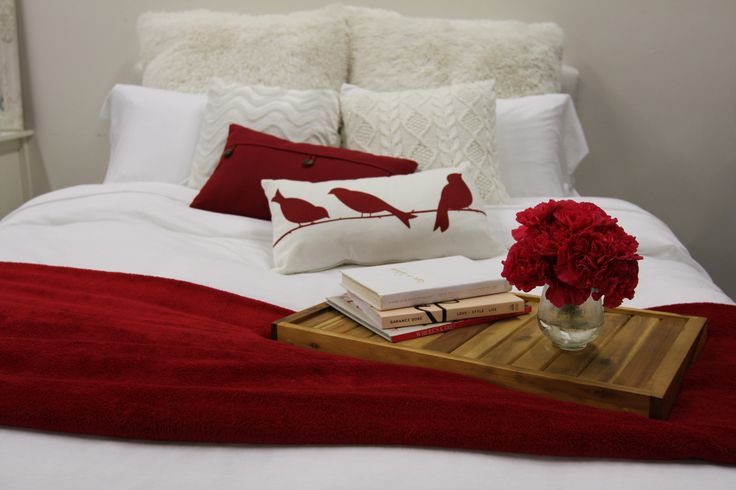 Decorate for valentines day add few red items to your for Bed decoration for valentine