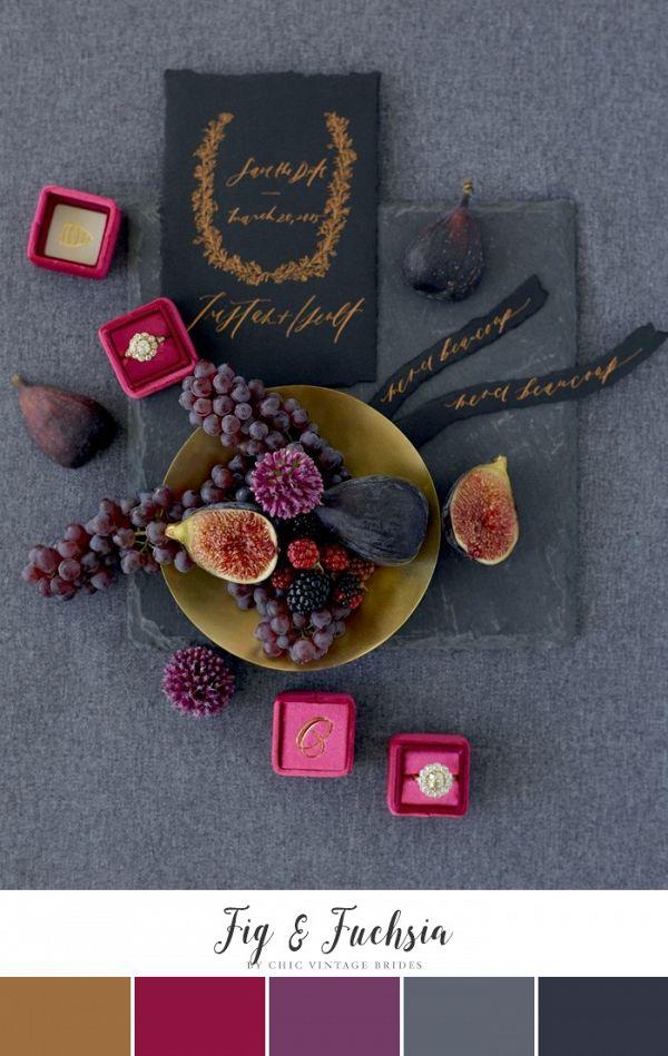 Fig & Fuchsia Winter Wedding Color Palette    #wedding #weddingideas #aislesociety #weddingcolors