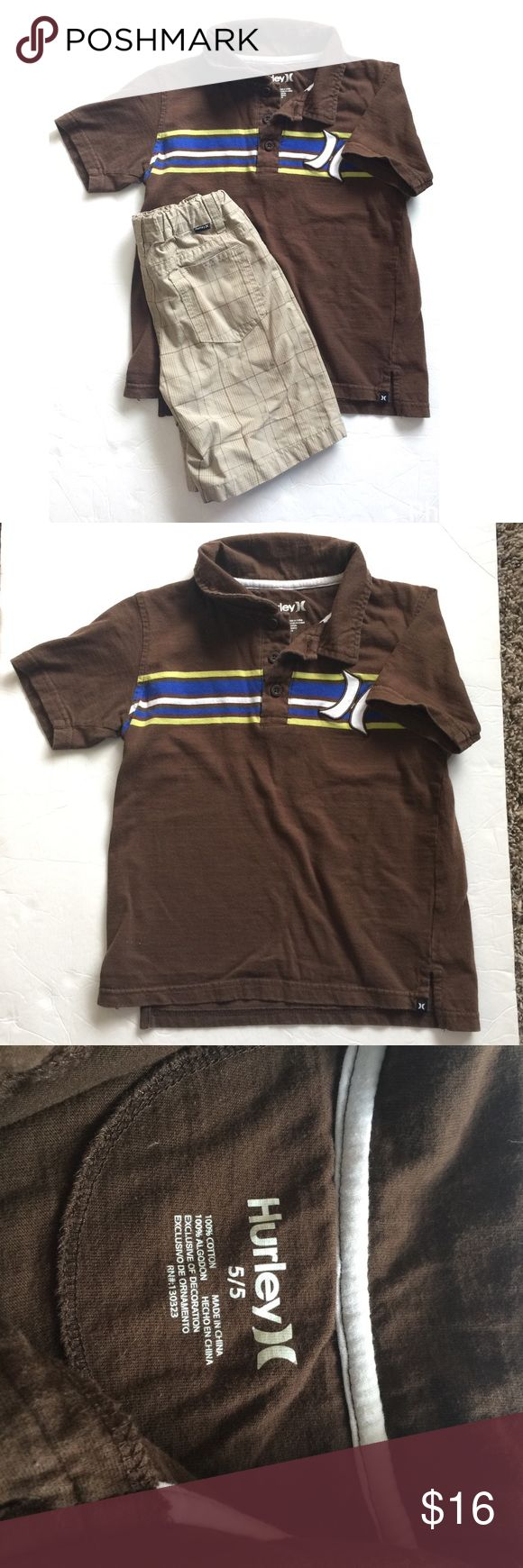 Hurley outfit Brown polo shirt short sleeve with matching plaid shorts Hurley Matching Sets
