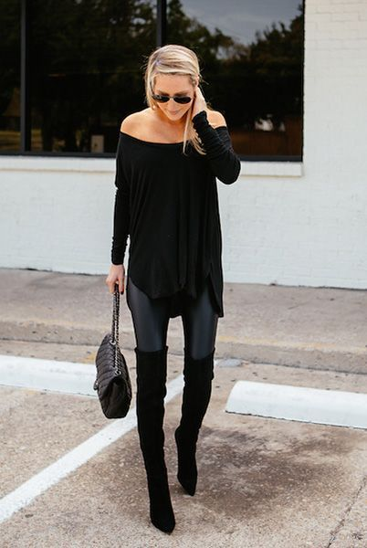 fall / winter - street style - street chic style - casual outfits - black off the shoulder knit tunic + black leather leggings + black heeled over the knee boots + black shoulder bag + black aviator sunglasses