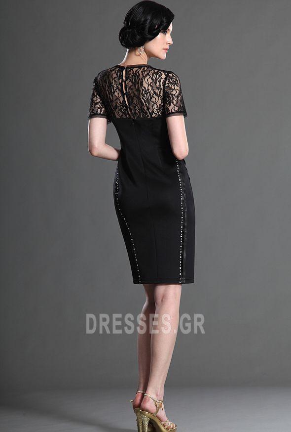 Χαμηλών τόνων βλέπω μέσω Καθαρή πλάτη Μέχρι το Γόνατο Κοκτέιλ φορέματα