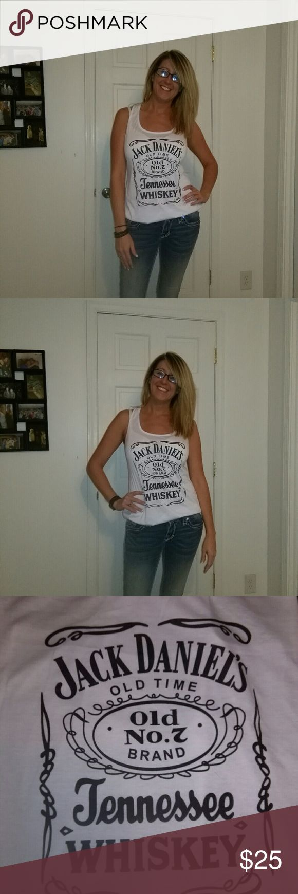 Jack Daniels tank top White razorback tank top. Only worn to model. Goes great underneath a flannel or just by itself! Tops Tank Tops