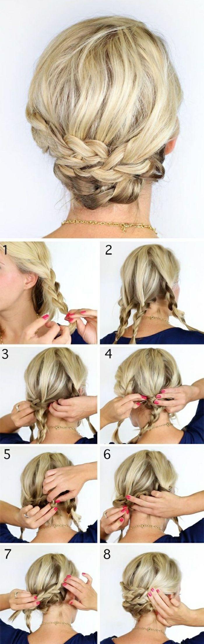 einfache frisuren blonde haare, zöpfe, hochsteckfrisur selber machen