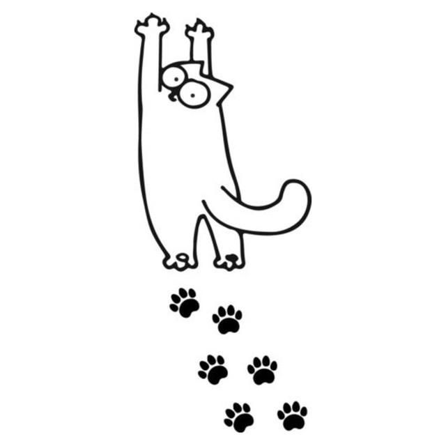 Cat Stretching With Foot Prints Car Decal Cat Stretching Simons Cat Cat Drawing