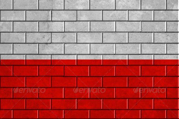 Poland flag painted on a brick wall  #photodune