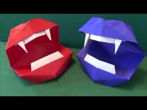 """▶ 動く「リアルな口」折り紙""""vampire mouth""""origami - YouTube"""