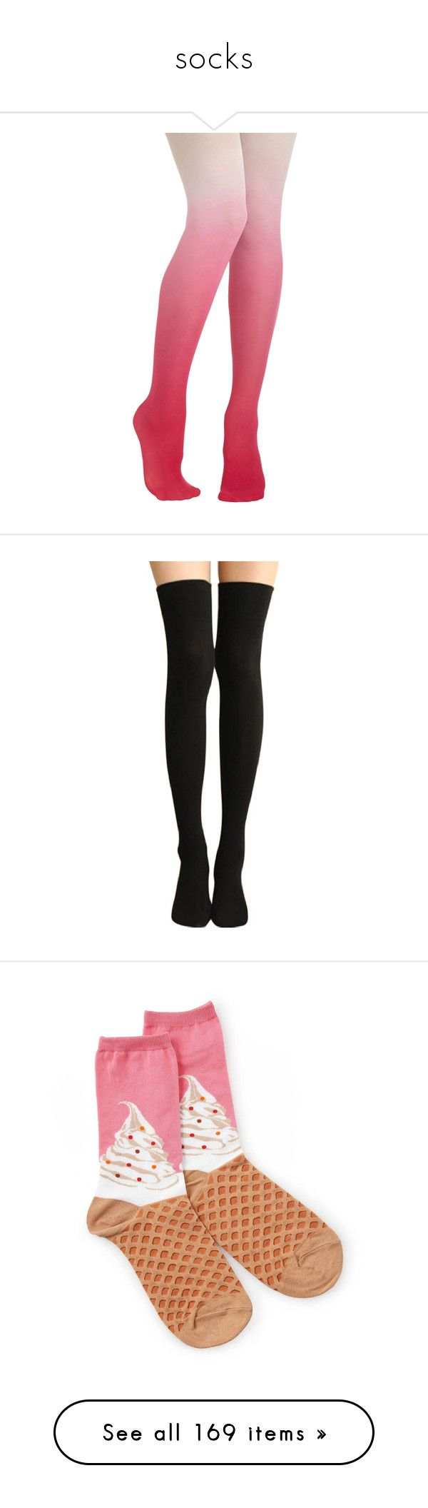 """""""socks"""" by kittensoft ❤ liked on Polyvore featuring intimates, hosiery, tights, socks, bottoms, pink, legs, nylon stockings, nylon tights and ombre tights"""