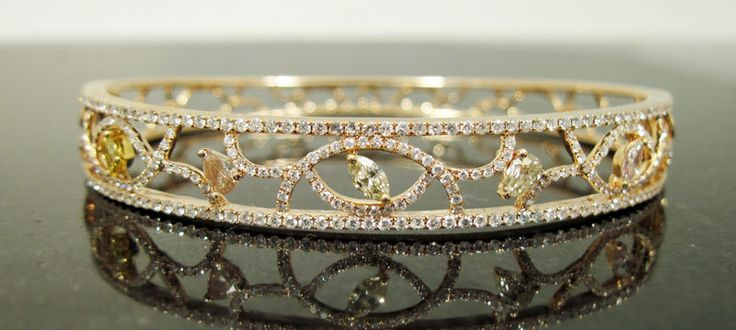 14k Rose Gold Yellow Pink White Diamond Cluster Bangle Bracelet 1.78 CTW