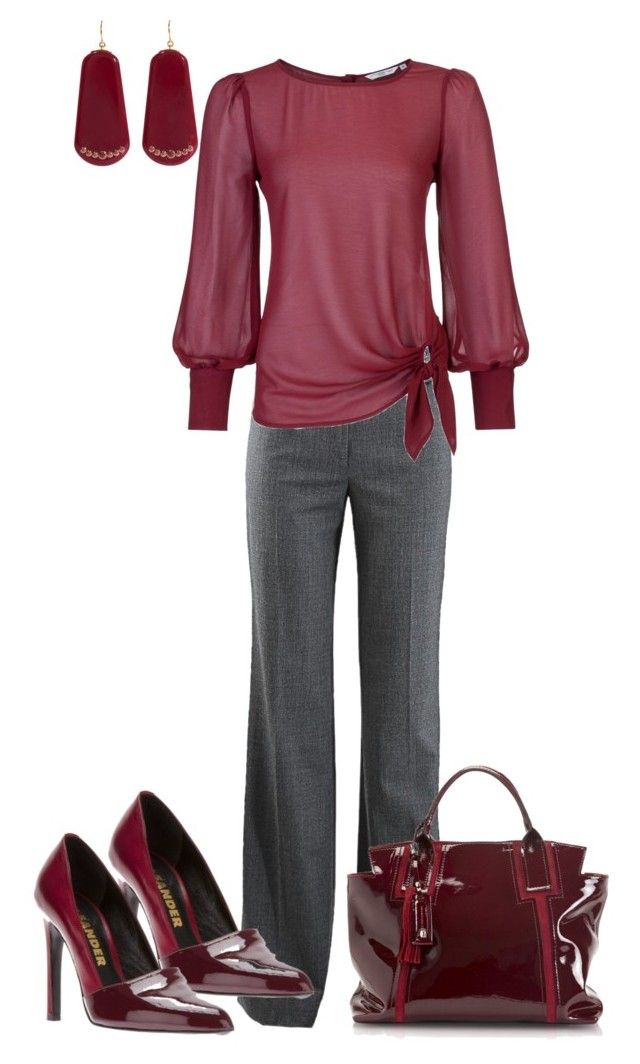 """""Berry"" Business Casual"" by sweetnuff ❤ liked on Polyvore featuring Michael Kors, Jil Sander, Francesco Biasia and Mark Davis"