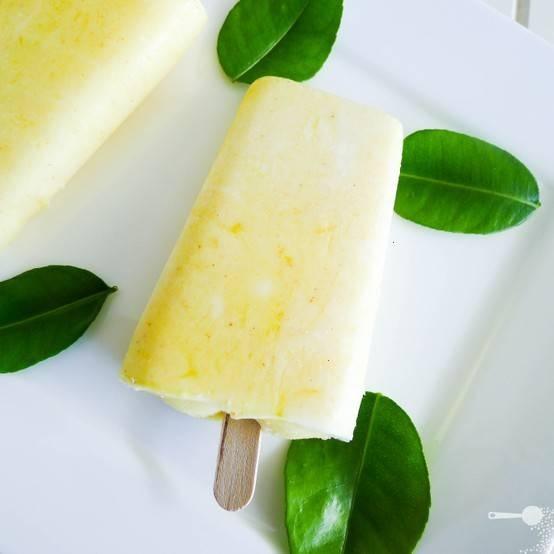 Mango and yoghurt ice pops
