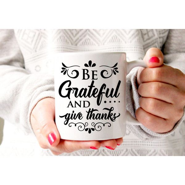 Be Grateful Coffee Mug Fall Mug Autumn Mug Fall Decor Thanksgiving Mug... (51 ILS) ❤ liked on Polyvore featuring home, kitchen & dining, drinkware, drink & barware, home & living, mugs, silver, white tea mugs, coffee tea mugs and quote mugs