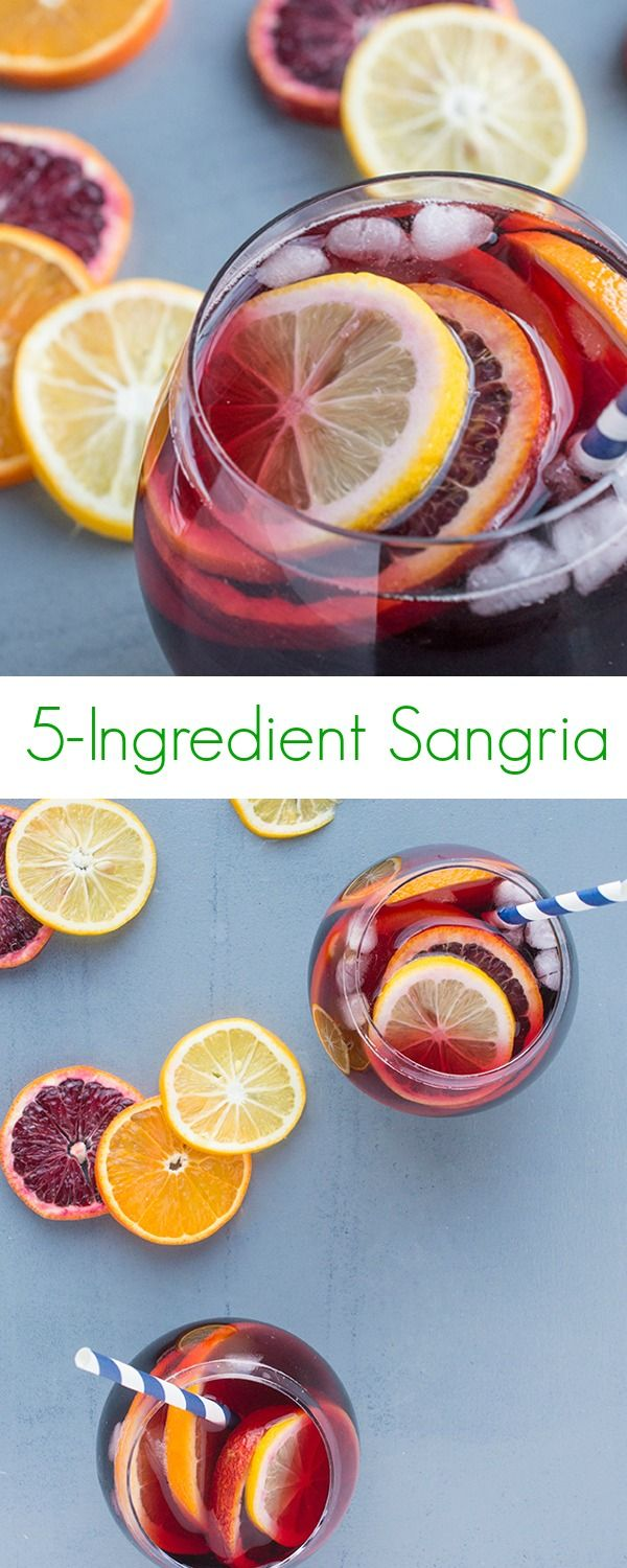 5-Ingredient Sangria Recipe -  A fast, easy and healthy version of your favorite after dinner cocktail or summer party drink! - The Lemon Bowl