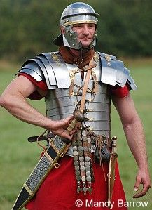 weapons of the roman army  pics. | The legionary wore his sword high on the right side of his body. This ...