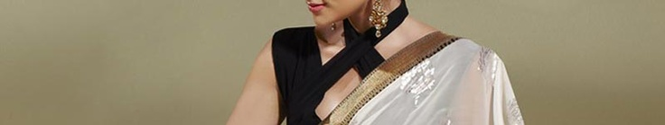 Off White, Aqua Green and Navy Blue Faux Chiffon Saree with Blouse Online Shopping: SLSSL1646C