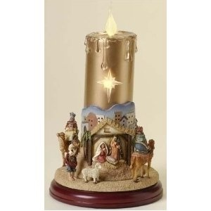 "11"" Inspirational Lighted Musical Christmas Candle with Rotating Nativity Scene"