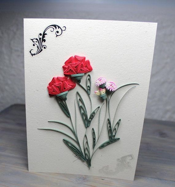 Wish Card Greeting Card Red Carnations Quilled Carnation Hemp