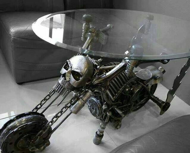 Ring In The Steampunk Decor To Pimp Up Your Home: Skull Motorcycle Glass End Table