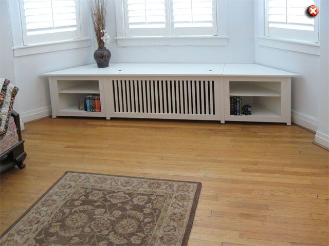 Radiator cover with seat and shelves for bay window.