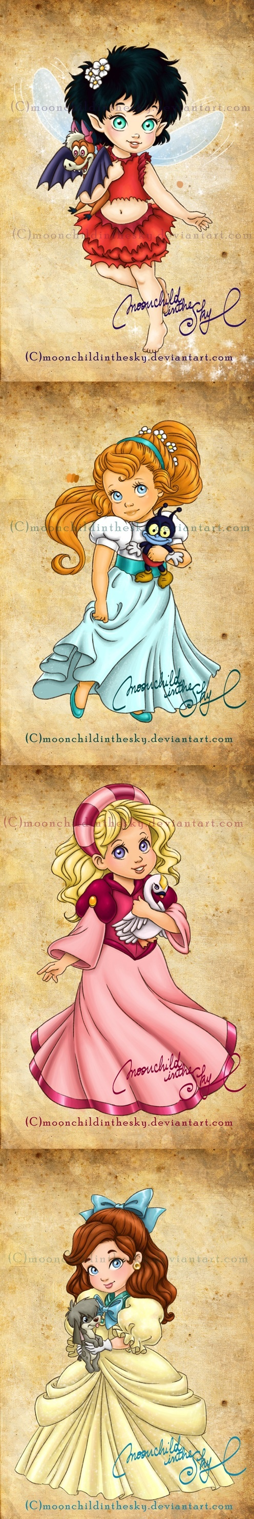 Non-Disney Princesses by moonchildinthesky on deviantart Crysta, Thumbelina, The Swan Princess, and Anastasia