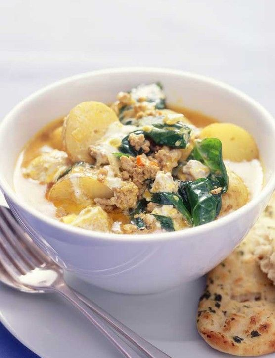 Pork and potato curry  A fresh pork curry, packed with root ginger, red chilli, cumin, coriander and spinach. Interestingly, salad potatoes are best in this recipe. Serve with Indian bread and yoghurt for full satisfaction.