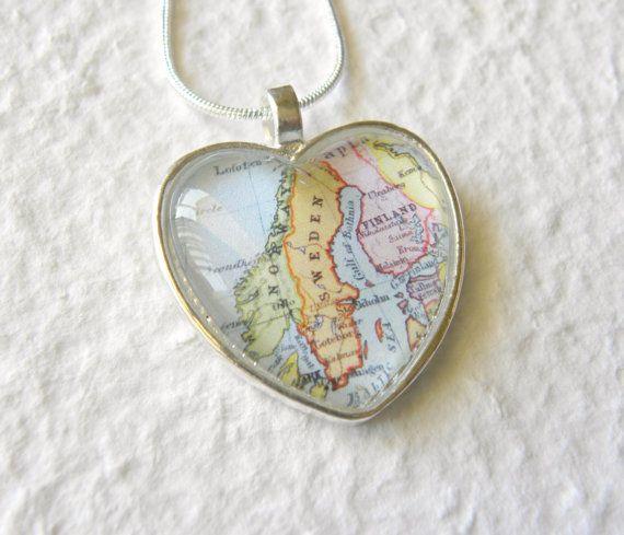World Traveler Heart Shaped Map Necklace  by TheGreenDaisyShop, $20.00