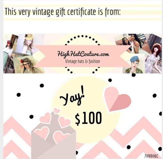 HighHatCouture / Gift Certificate / Vintage Hats by HighHatCouture