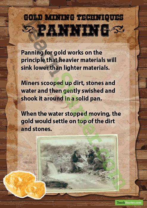 Gold Mining Methods | Teach Starter - Teaching Resources