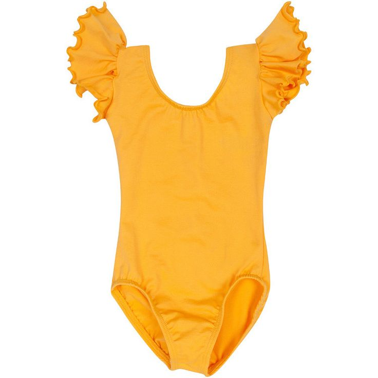 GOLD Leotard with Flutter / Ruffle Short Sleeve for Toddler and Girls – The Leotard Boutique