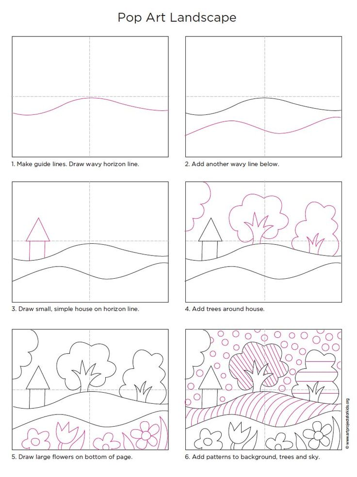 "Art project for kids. Step by step ""how to"". Landscape drawing"