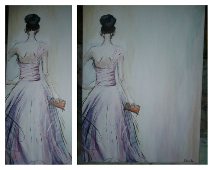woman in dress -  acrylic painting on canvas
