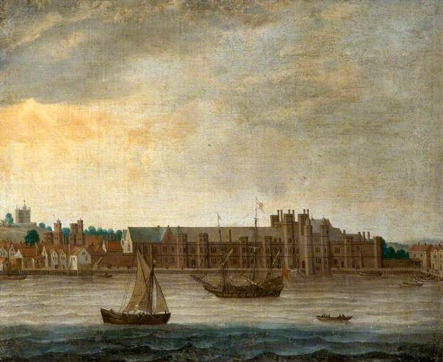 """View of the Thames with the Old Palace of Placentia at Greenwich, London"" by British School, National Trust, Kingston Lacy"