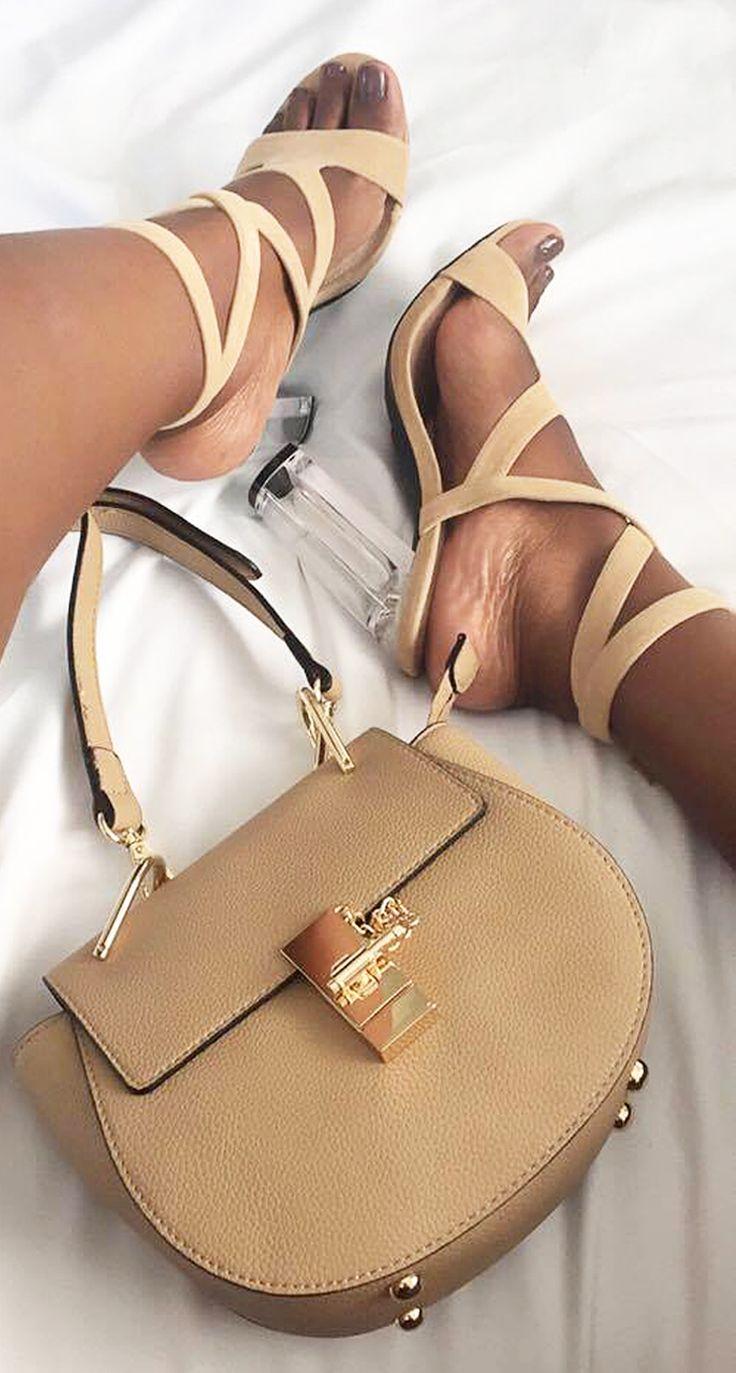 New In | Tan Chunky Heels & Designer Inspired Handbag | Kyss My Style