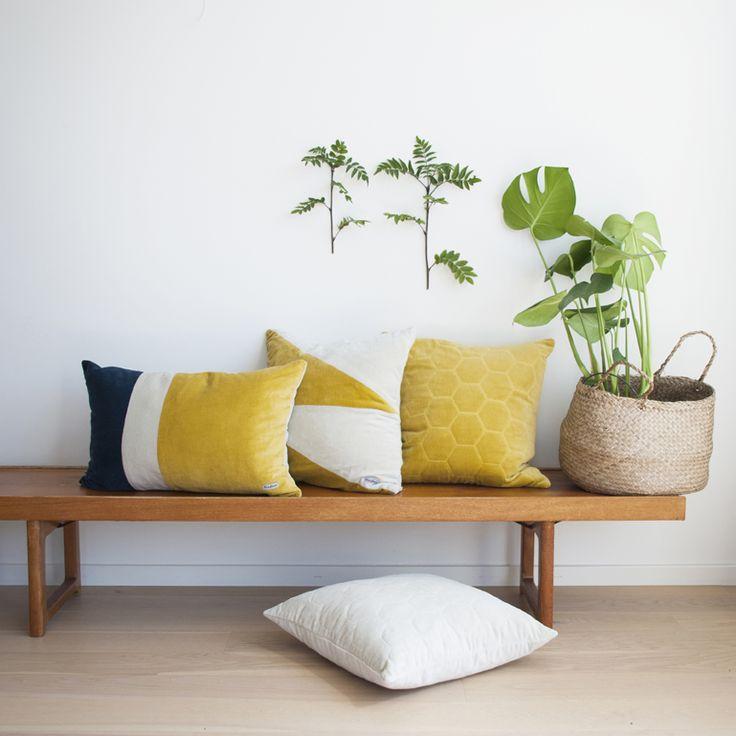 A mix of velvet pillows