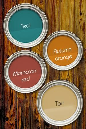 Teal + Moroccan Red + Autumn Orange + Tan