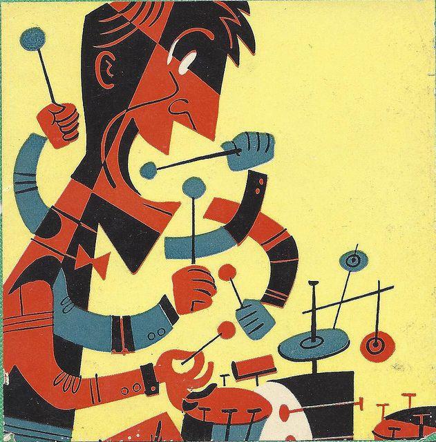 crazy drummer | Flickr - Art from a vintage jazz album cover.