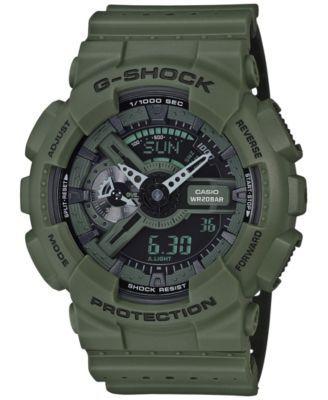 G-Shock Men's Analog-Digital Green/Black Dual Layer Resin Strap Watch 51x55mm GA110LP-3A