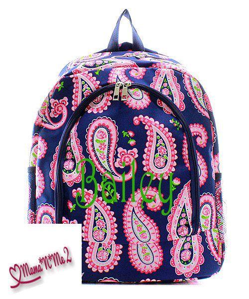 monogram/personalizedPaisley Backpack/monogram diaper bag/school bag/boys backpack/child's backpack by momanme2 on Etsy