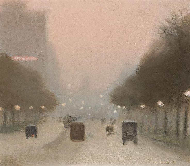 Clarice Beckett (1887- 1935) - Evening, St. Kilda Road, 1930