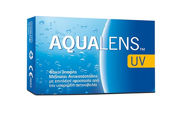 AQUALENS UV 6pack - 17.50€ - Μηνιαίος μαλακός φακός επαφής, υδρογέλης. Προστασία UV.
