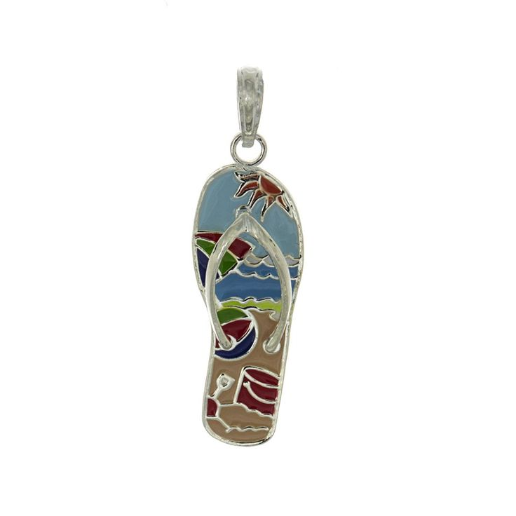 925 Sterling Silver Nautical Charm Pendant, Enamel Beach Scene On Flip-Flop. 925 Sterling Silver Nautical Charm Pendant, Enamel Beach Scene On Flip-Flop. Image ENLARGED to show detail. Weight/Sizes APPROXIMATE. Made in the U.S.A., Coated To Prevent Tarnishing. Theme: Beach, Nautical, Novelty. To order with Chain, Select Corresponding Gift Option at Checkout.